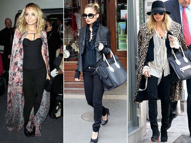 Nicole Richie e as suas black skinnies e bolsa Celine